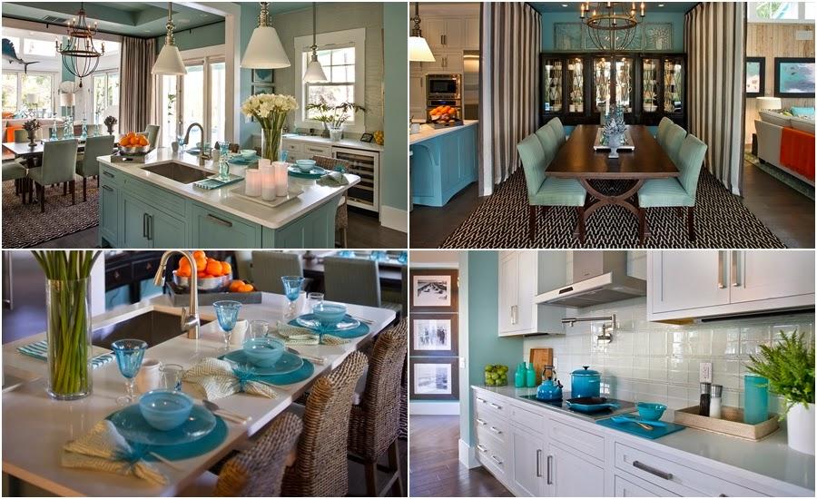 dom, wnętrza, mieszkanie, wystrój wnętrz, home decor, aranżacje, dekoracje, kuchnia, jadalnie, wyspa kuchenna, błękit, turkus, mięta, szarości