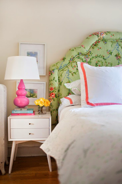 hot pink white green bedroom