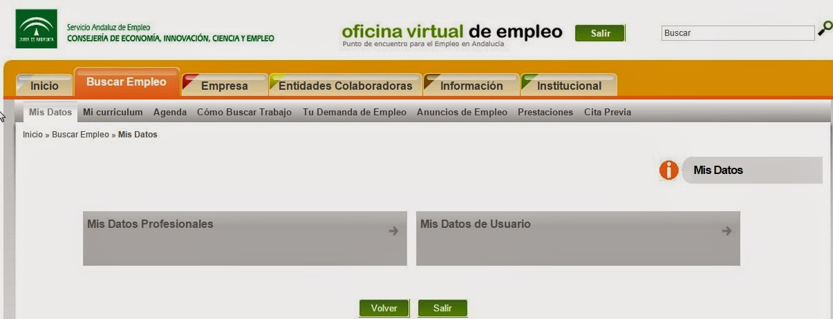 Orienta sue nueva funcionalidad de la oficina virtual de for Empleo ecyl oficina virtual
