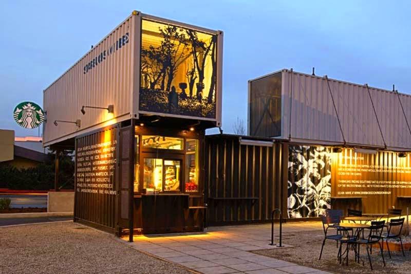 Casas contenedores starbucks crea un auto caf con contenedores marinos - Casas en contenedores marinos ...