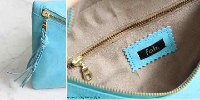 My Summer 2013 bag: Fab. Beatrix clutch - aqua details