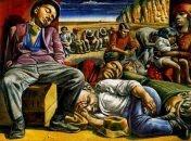 "(Año: 1934) Desocupados"" de  Antonio Berni (Argentina, 1905-1981) Material: Témpera sobre arpillera"