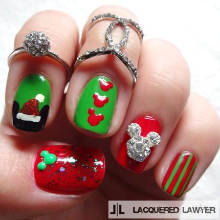Mickey Mouse Christmas Nails