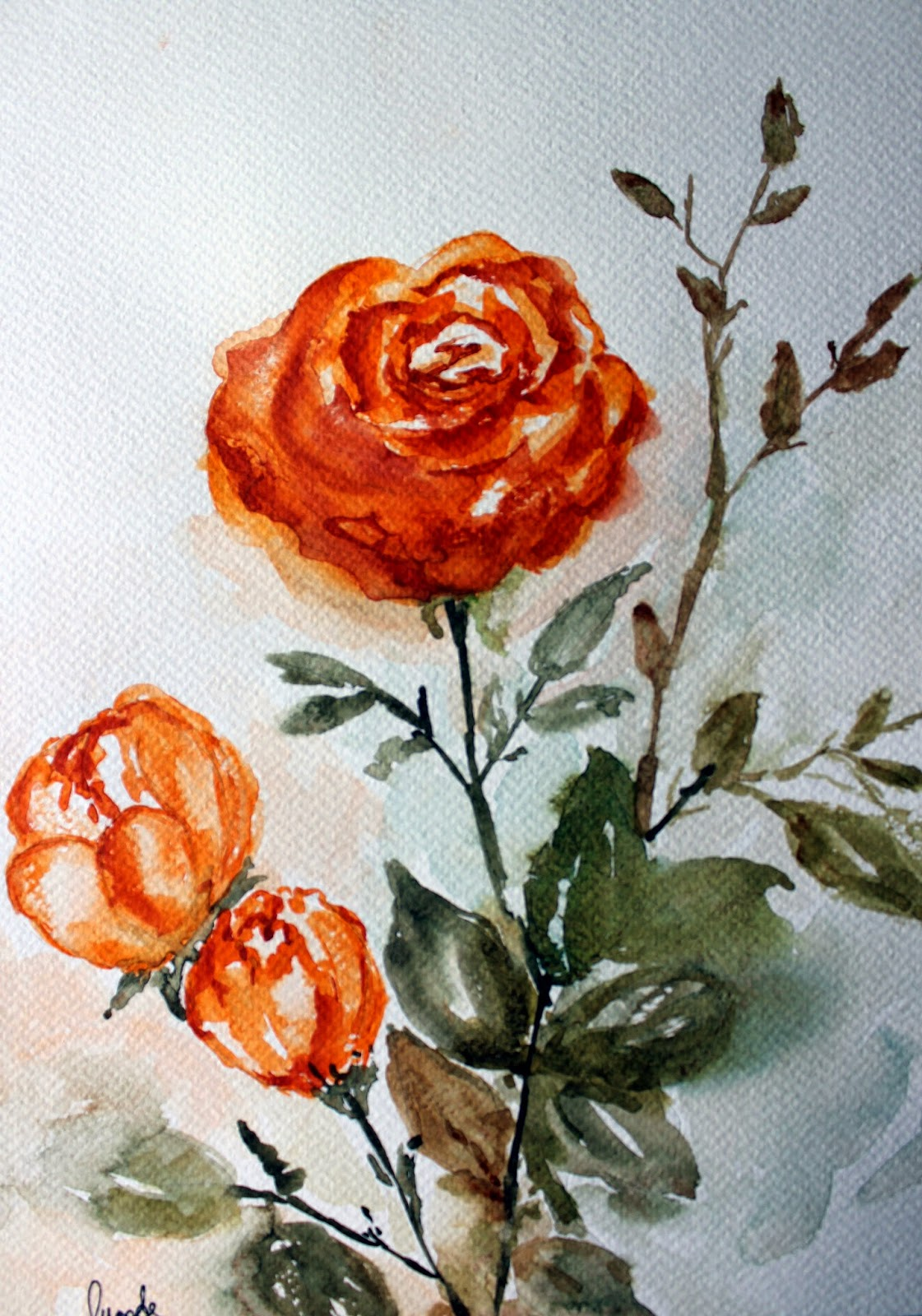 rose, orange, buds, art, painting, blooming, valentine, garden, nature
