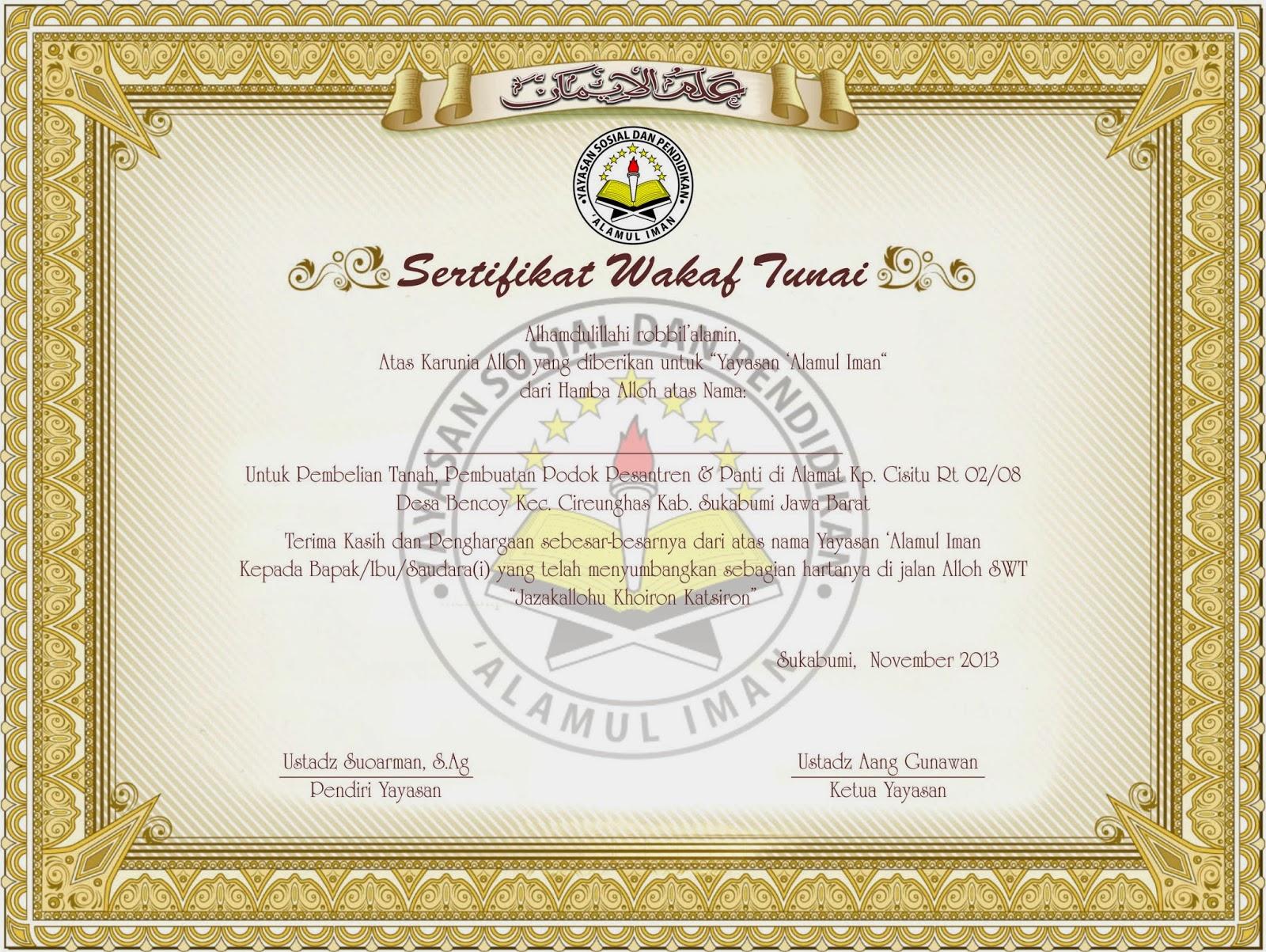 "Proposal Wakaf Tanah   Yayasan Sosial & Pendidikan ""Al ..."