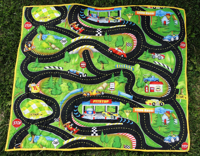 Race Track Fabric : Oxford impressions south sea pit stop hot rods ride again