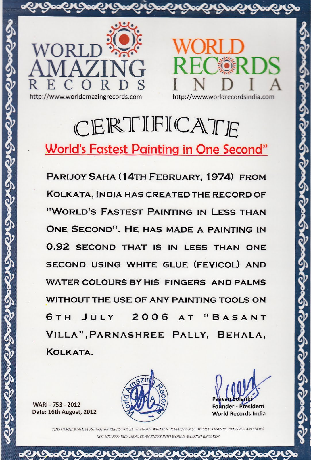 World Record Certificate World's Fastest Painting
