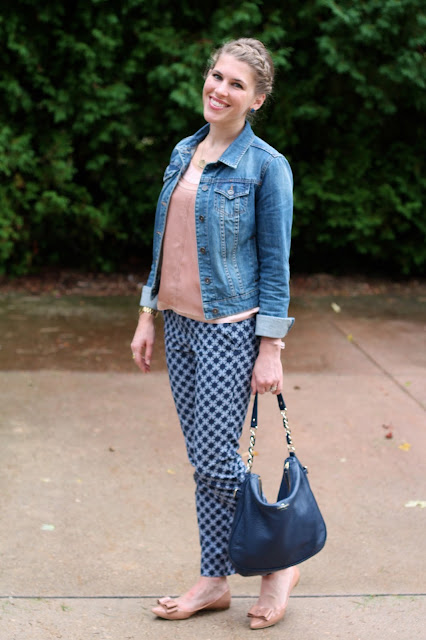 pink tank, denim jacket, printed pants