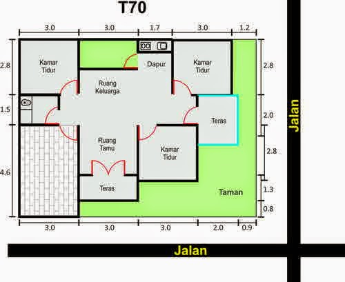 Desain Denah Rumah Minimalis Type 70, Sketsa Rumah 2 Lantai