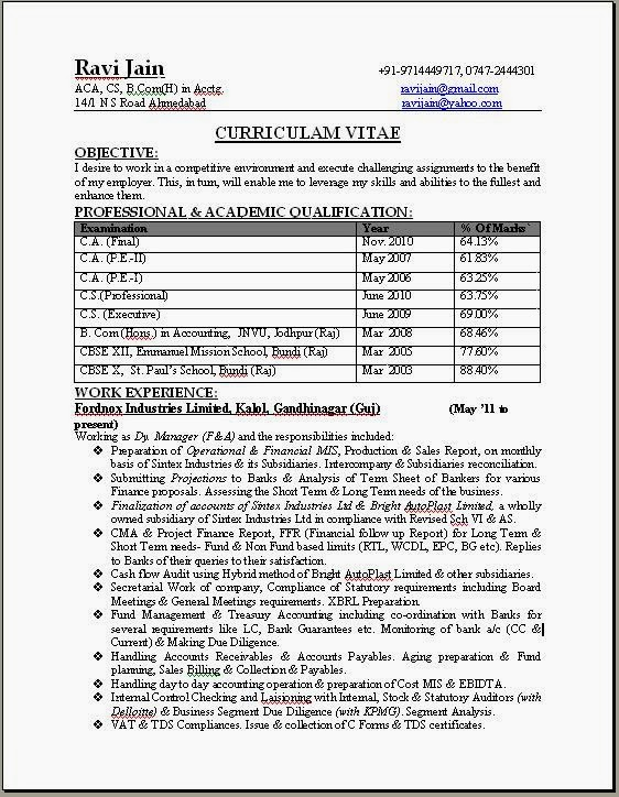 60 ca professional resume format free download