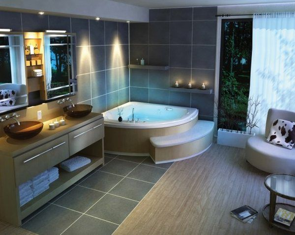 Traditional Beautiful Bathroom Design Corner Bath Tub