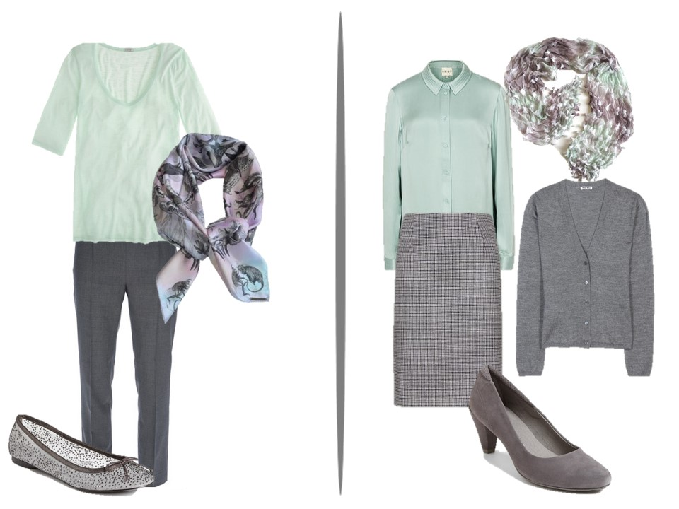 Colors that Go with Mint Green: 27 Outfits. For everyday outfits you can try gray-blue jeans, a cream top, peppermint shoes and a jacket. Jeans. Such clothes are best suited for summer and with white cotton or denim jacket and a top it will make you look crisp and fabulous. BTW jeans blue is one of the best color combinations.