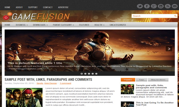 GameFusion 2 Column Blogger Template