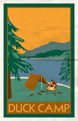 illustration of duck camping vintage poster style