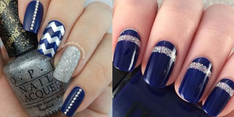 Stunning Wedding Nail Art In Blue Silver
