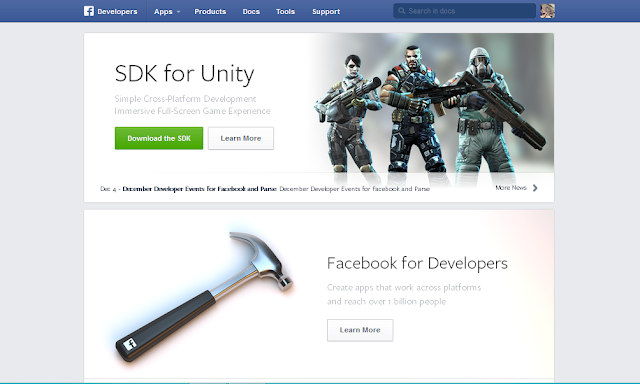 Facebook New Developers Website: Landing Page