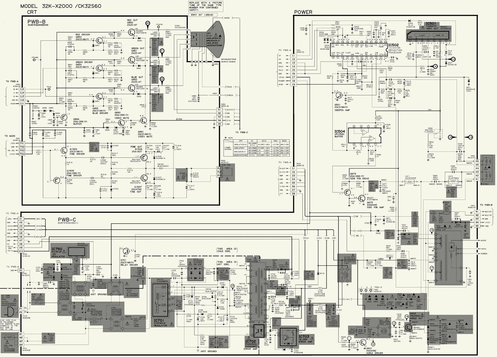 sharp schematic diagram  power and crt unit  36k-x2000  ck36s60   ck32s60