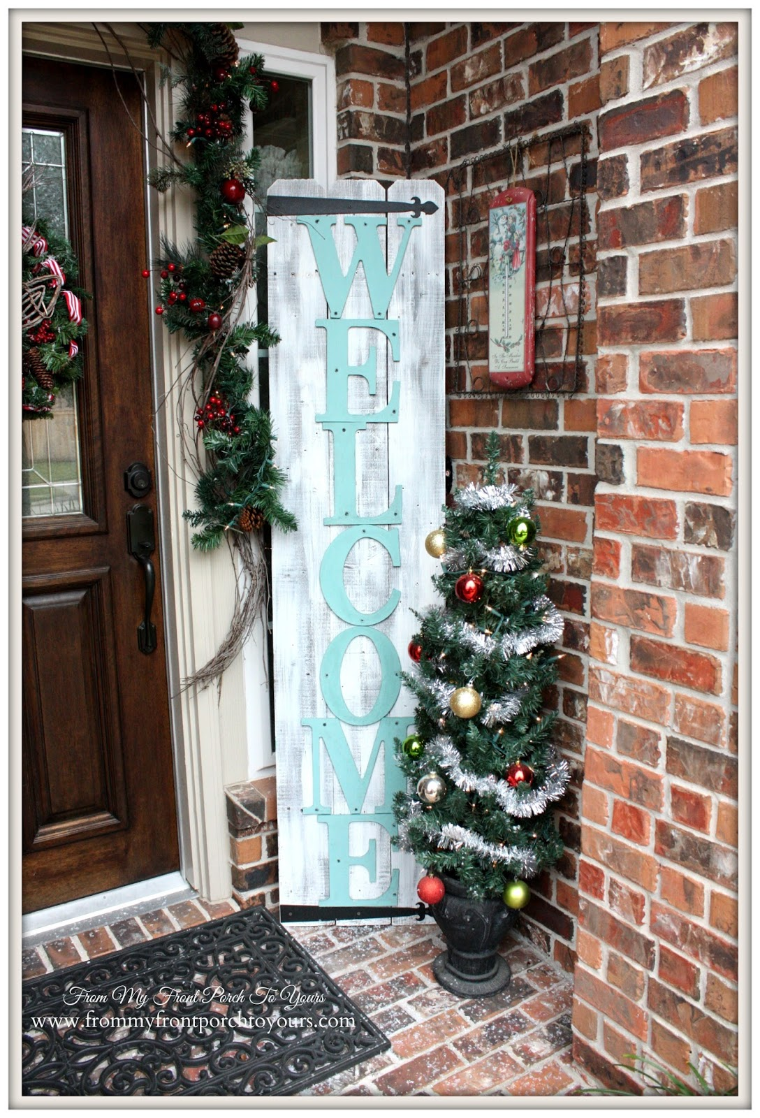 Large Welcome Sign-Simple Vintage Christmas Front Porch- From My Front Porch To Yours