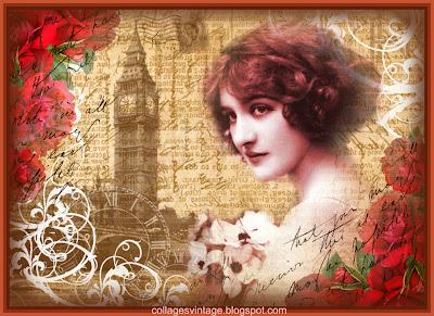 Londres vintage collage con dama victoriana y Big Ben