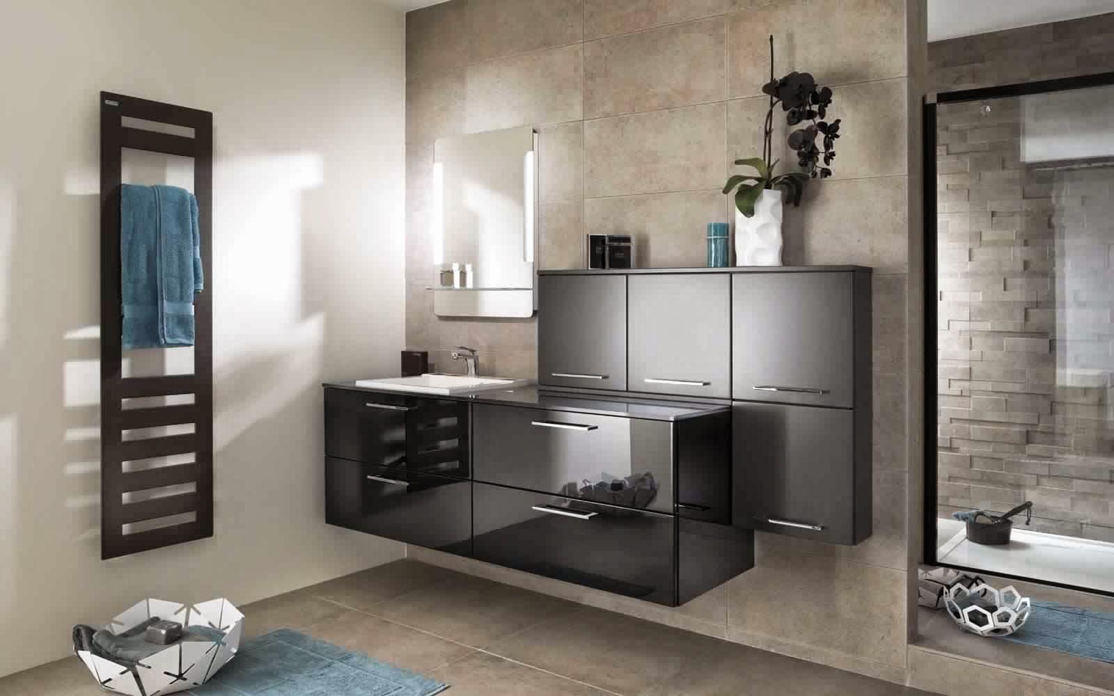 Meuble salle de bain noir meuble d coration maison for Meubles s de bains castorama