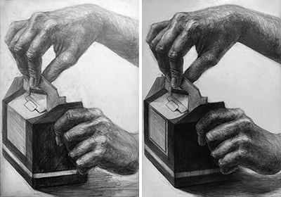 多摩美プロダクトデザイン:鉛筆デッサンプロセス