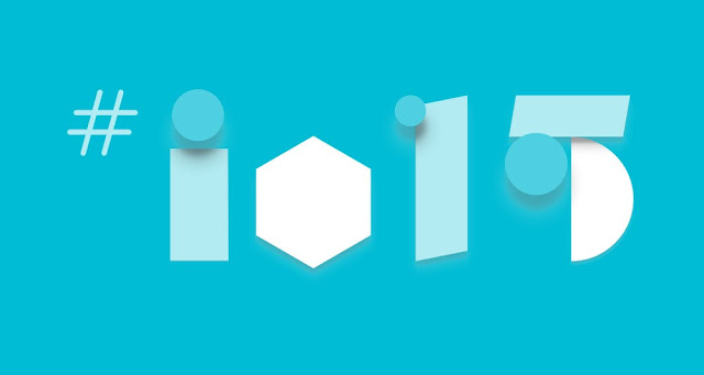 The Google I/O Conference 2015 logo on a turquoise background and next to a # symbol.