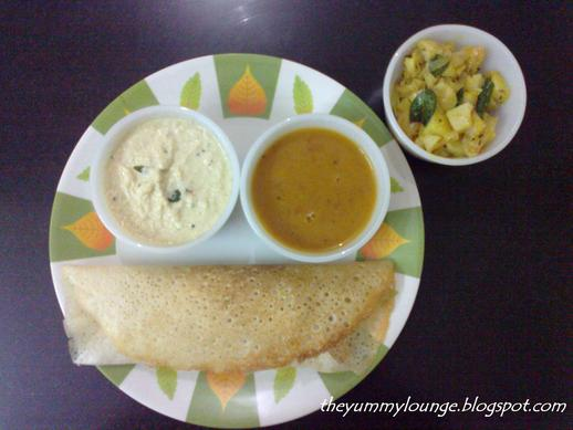 Masala Dosa Potato Filling Recipe With Coconut Chutney and Sambar