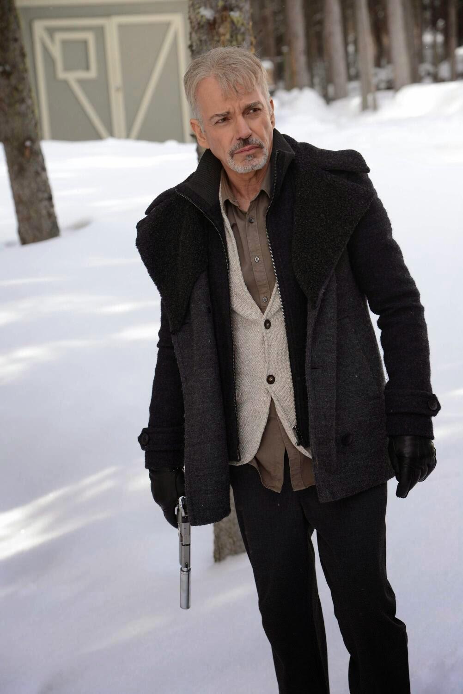 Billy Bob Thornton as silver haired goatee wearing Lorne Malvo in Fargo Season 1 Finale Episode 10 Morton's Fork