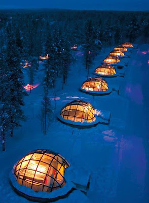 Igloos with a view of the Aurora, Northern Lights