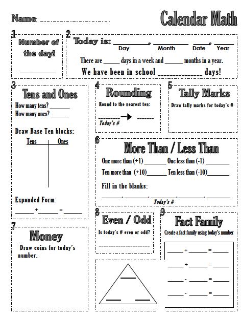 Calendar Math Printables : The spanglish classroom october