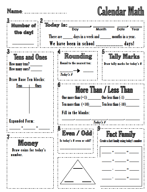 Calendar Math for the Upper Grades 5th Grade Starter Kit by ...