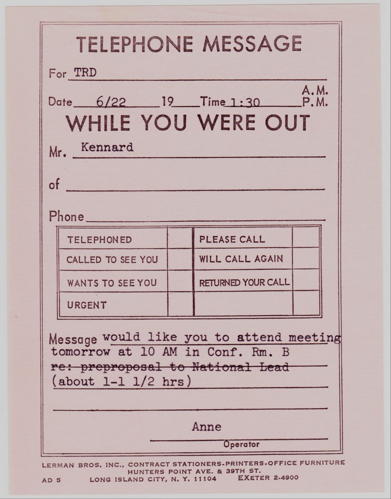 sample telephone message pad template