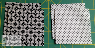Cut two squares of each fabric.