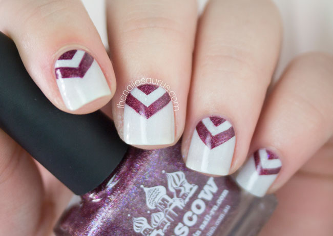 Chevron Nail Art with piCture pOlish LakodDom and Moscow