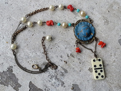 recycled necklace assemblage with scarab