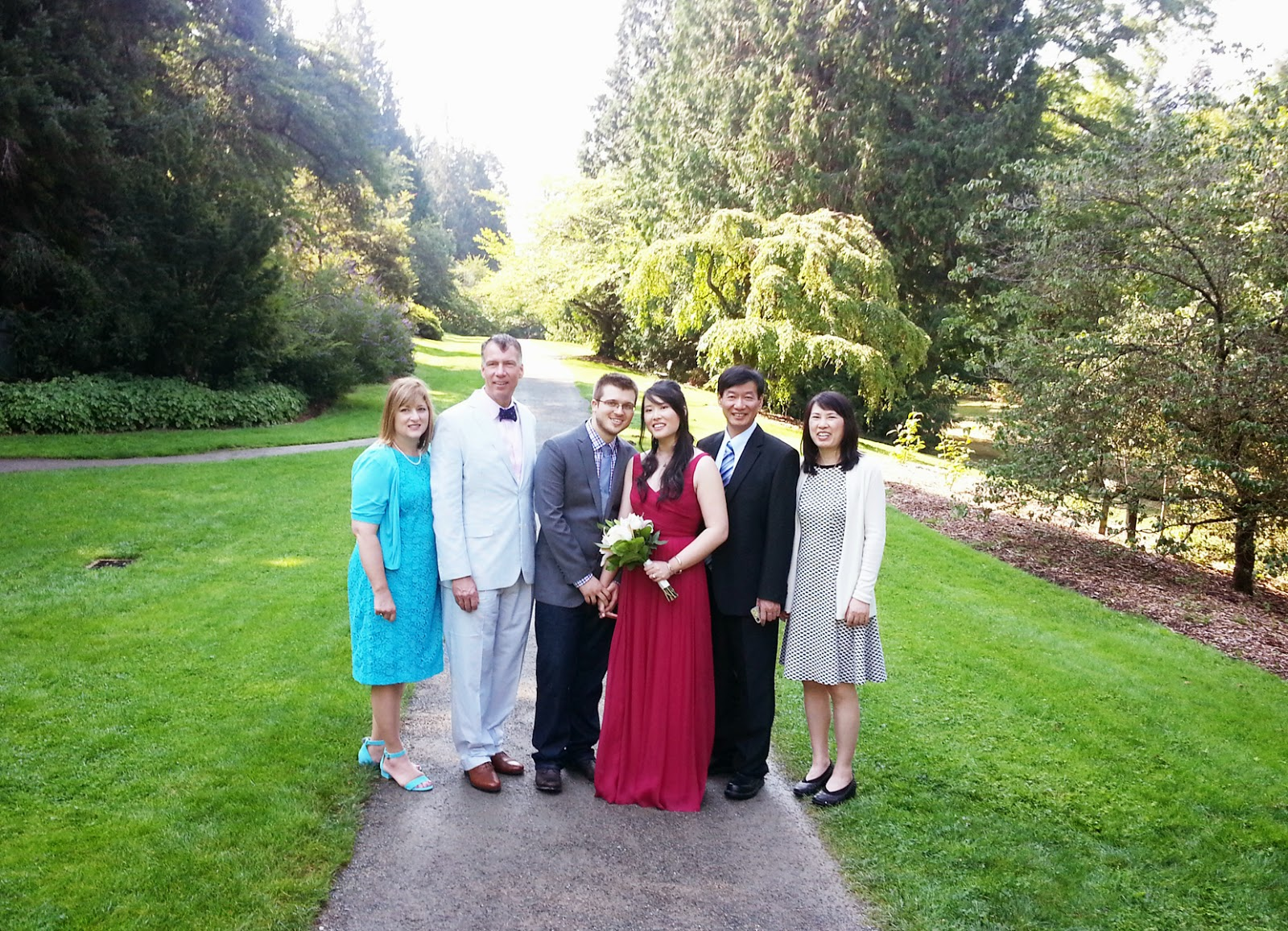 Sarah and Gene's wedding photo at the Washington Park Arboretum - Patricia Stimac, Seattle Wedding Officiant