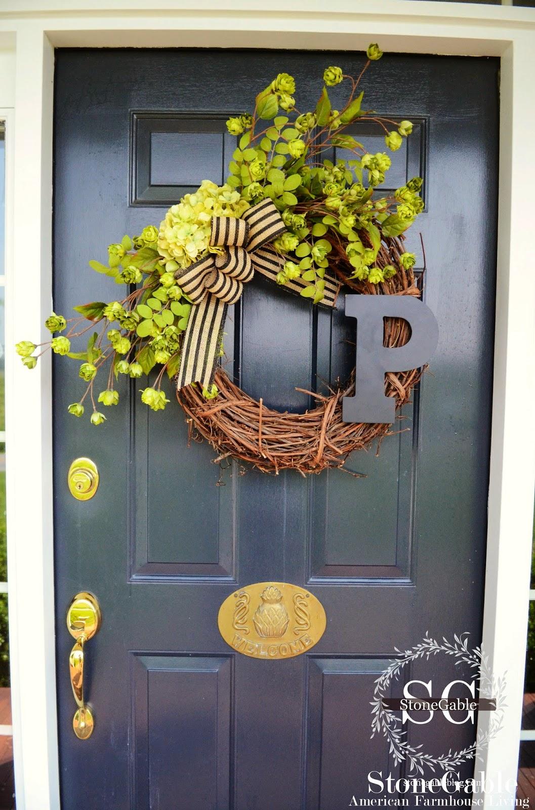 Summer initial wreath diy stonegable for Diy summer wreath