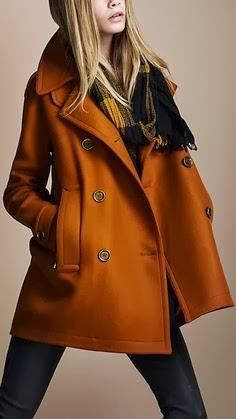 Burnt orange pea coat