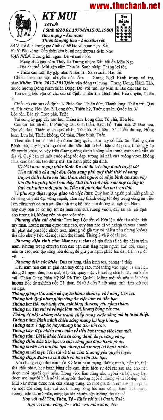 Xem Tu Vi Ky Ty Nu Mang Nam 2012
