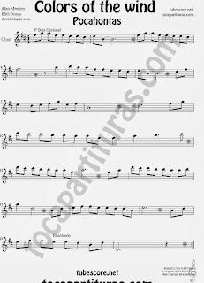 Colores en el Viento Partitura de Pocahontas para Oboe. Partitura de Colors in the Wind Pocahontas sheet music Oboe (score). ¡Para tocar junto a la música!
