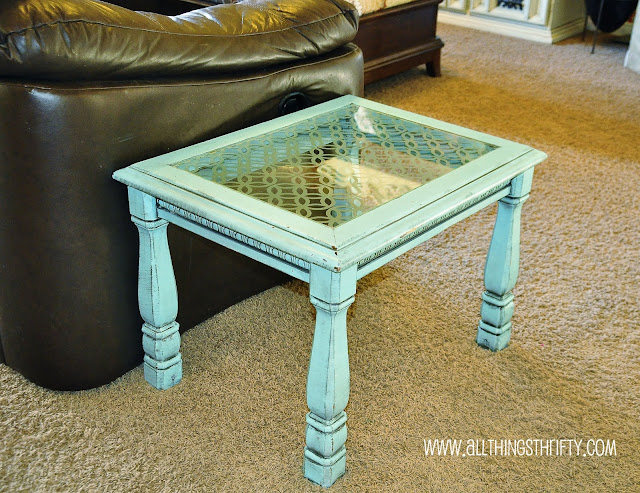Add character to glass furniture the easy way : endtablewithetchedglass from www.allthingsthrifty.com size 640 x 493 jpeg 142kB
