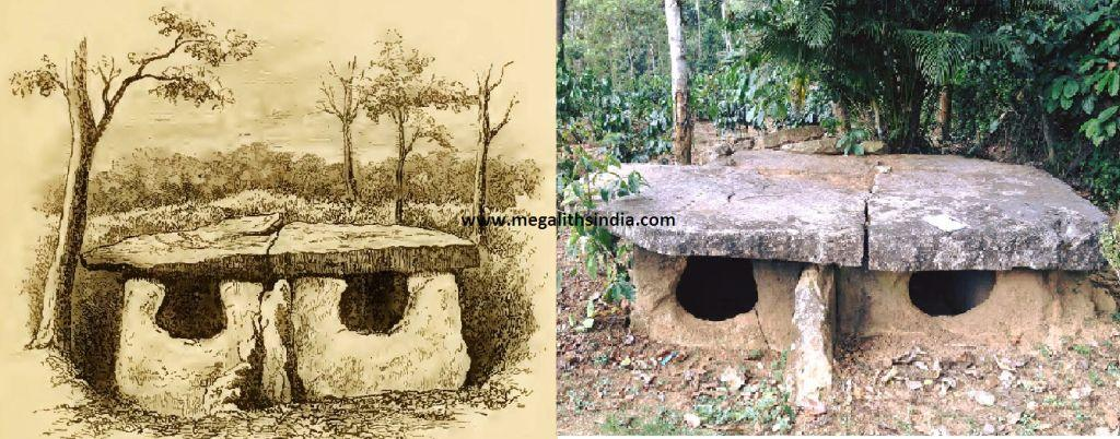 A 19TH CENT SKETCH OF A HUMAN FACED DOLMEN ON THE RIGHT