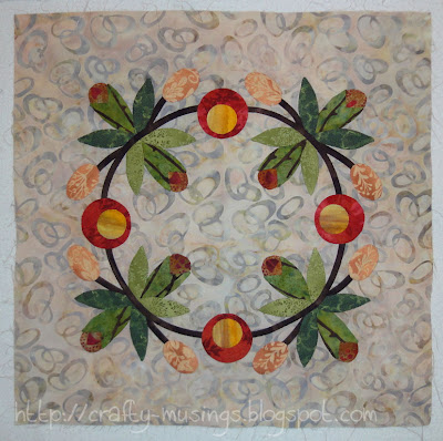 Hop to It block 12: Rose Hip Wreath