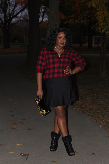 It's-that-time-of-the-year-to-pull-out-the-flannels-like-this-basic-red-and-black-flannel-styled-with-flirty-black-skirt-vintage-silver-chain-necklace-and-furry-open-toe-booties-turns-this-lumberjack-flannel-into-a-girl-look