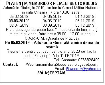 PLANIFICARE ADUNARI 2019