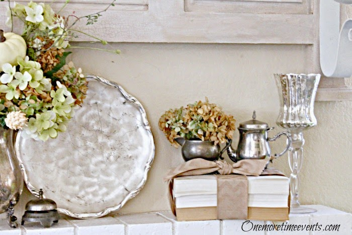 Fall Decorating with silver creamers at One More Time Events.com