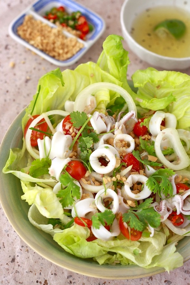 Thai Squid Salad with Spicy Lime Dressing by SeasonWithSpice.com
