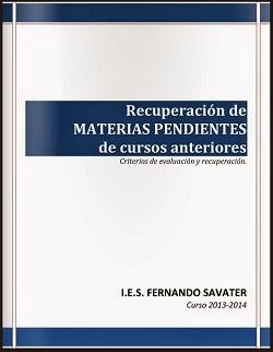 RECUPERACIÓN DE MATERIAS PENDIENTES DE CURSOS ANTERIORES