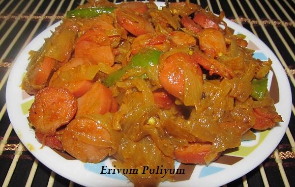 Chicken Sausage Dry Roast / Ullarthiyathu