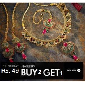 Jabong: Buy Jewellery Buy 2 Get 40% off + 30% off + 5% off from Rs. 78